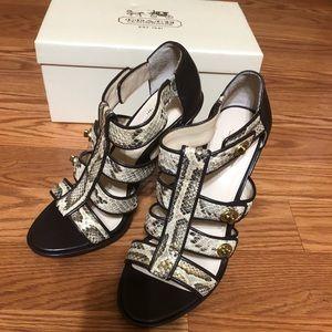 Coach sexy python turn lock sandal heels NEW 7.5 B